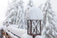 Snowy lantern on a mountain