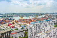 Singapore port, cranes and containers
