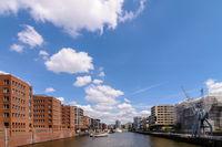 View from Gandhi Bridge at Sandtorhaven in tourist spot Hafencity.