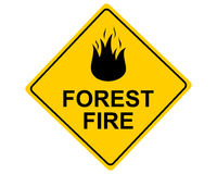 Warnschild Forest Fire - Traffic sign Forest Fire on white