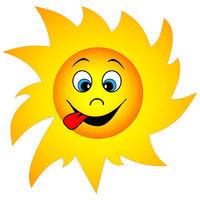Funny cartoon sun
