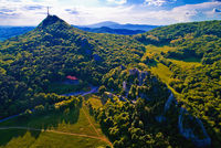 Kalnik mountain ridge and old fortress ruins aerial view