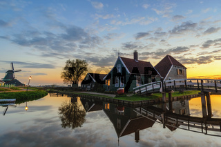 Amsterdam Netherlands, Sunrise at Zaanse Schans Village with Dutch Windmill and traditional house