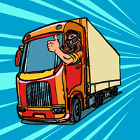 truck driver. man with beard thumbs up