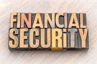 financial security word abstract in wood type