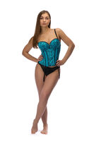 Beautiful brunette in blue corset