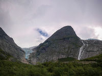 Panoramic view to Briksdal Glacier in Norway