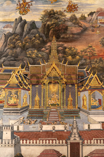 Gold castle in Wat Phra Kaew mural