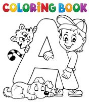 Coloring book boy and pets by letter A