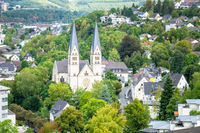 aerial view to the church of Siegen Germany