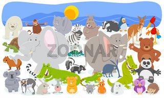 cartoon animal characters crowd background