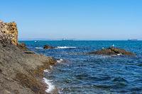 Cliffs of the island of St. Anastasia. The Burgas Bay of Black Sea. Bulgaria.