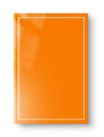 Closed orange blank book with frame isolated on white