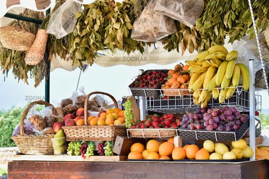 Tropical European Farmers Market Fruit Stand Diverse Fruits Fresh