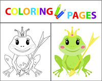 Coloring book page for kids. Frog princess Sketch outline and color version. Childrens education. Vector illustration.