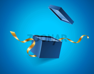 Blue opened 3d realistic gift box with golden ribbons flying off cover and place for your text, realistic box vector illustration.