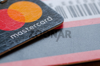 Credit or debit mastercard plastic payment card with logo