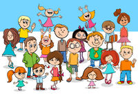 kid boys and girls cartoon characters group