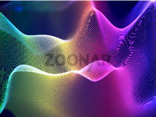 3D visualization of sound waves. Big data or information concept: Multicolor chart.
