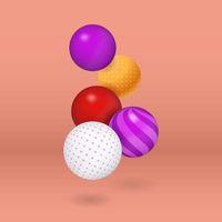 Multicolored vector decorative balls over coral background.