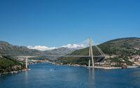 Cruise ship leaving new bridge in the port of Dubrovnik in Croatia