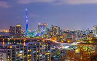 Fukuoka cityscape skyline at night in Japan