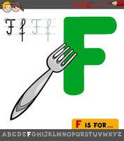 letter F worksheet with cartoon fork