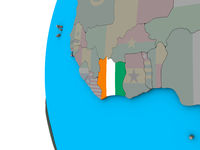 Ivory Coast with flag on 3D globe