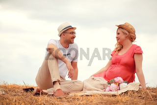 Autumn young pregnant girl on a date