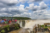 Viewpoint at the top of the Devils Throat at Iguazu Falls