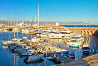 Port Vauban harbor in Antibes panoramic view