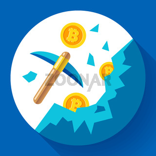 Cryptocurrency mining icon concept with pickaxe, coins in mountains