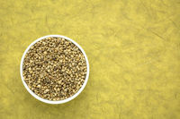 hemp seed in a ceramic bowl