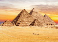 Sunset view on the famous Pyramids of Giza, Cairo, Egypt