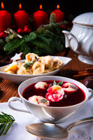 traditional Polish Christmas Eve borscht with dumplings