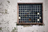 Ruin with glass tile window