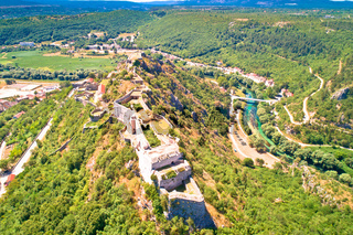 Knin fortress and Krka river aerial view
