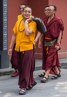 Buddhist Monks on a walk in Chengdu