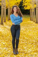 Brunette Model In Fall Foliage