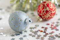 Silver Christmas ball closeup.