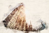 Watercolor Cologne Cathedral