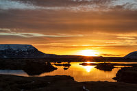 Myvatn lake at sunrise, Iceland
