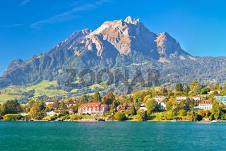 Coast of Lake Lucerne and Pilatus mountain panoramic view