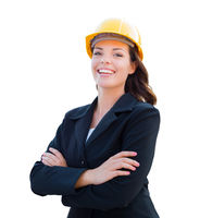 Smiling Female Contractor In Hard Hat Isolated On White