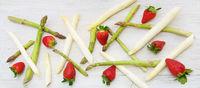 Asparagus, green, white, strawberries, banner, header, headline, panorama, text space