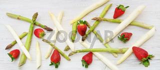 Spargel, Erdbeeren, grün, weiss, Stangen, Banner, Header, Headline, Panorama, Textraum