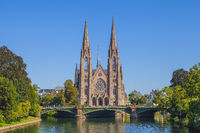 View at the church of Saint Paul with the river Ill in Strasbourg, France