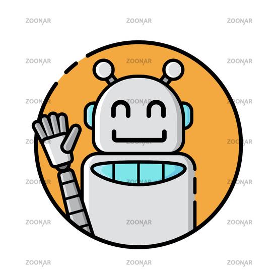 Round robot icon line style on white background