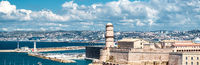 Horizontal view of Fort Saint Nicholas in Marseille, France