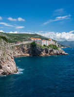 Vertical view of city walls of the old town of Dubrovnik in Croatia
